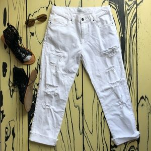 Zara Basic Denim White Ripped Capris 1975